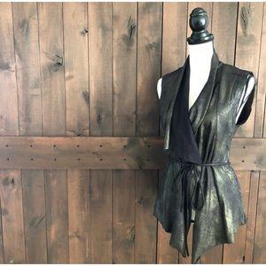 Zara Metallic Faux Suede Vest
